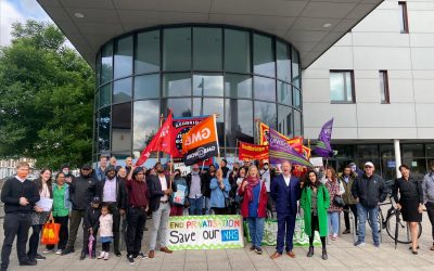 Rally against NHS privatisation outside the Loxford Practice
