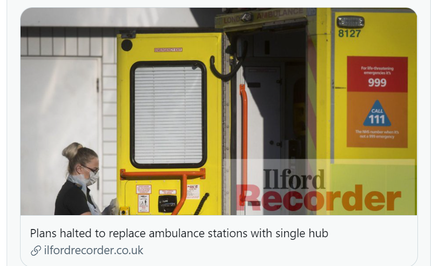 Plans for closure of Ilford Ambulance Station paused